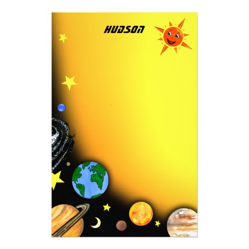 Happy Planets and Space Stationery Paper