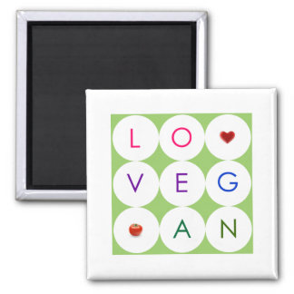 Happy Playful Vegan 2 Inch Square Magnet