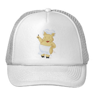 Happy Pointing Pig Chef Hat