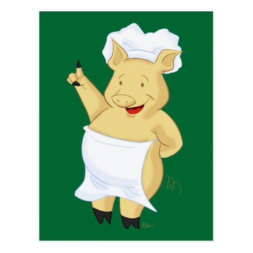 Happy Pointing Pig Chef Postcard