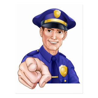 Happy Pointing Police Man Postcard
