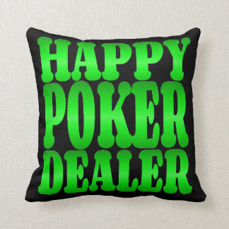 Happy Poker Dealer in Green Throw Pillow