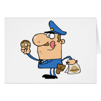 Happy Police Officer Eating Donut Greeting Card