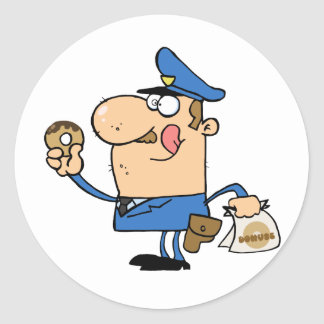 Happy Police Officer Eating Donut Classic Round Sticker