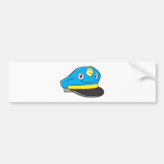 Happy Police Officer Hat Bumper Sticker