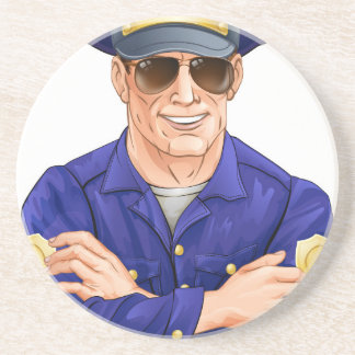 Happy policeman with sunglasses beverage coasters