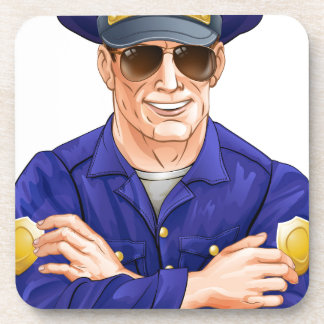 Happy policeman with sunglasses coasters