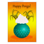 Happy Pongal, with a Pot Of Rice And Plants Greeting Card