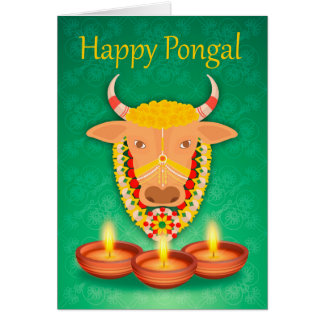 Happy Pongal, with cow and candles Card