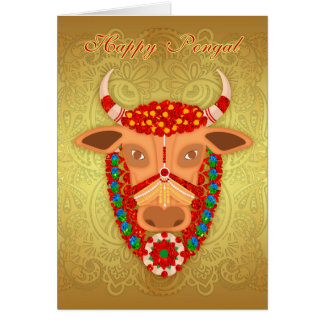 Happy Pongal, with Golden effect background Card