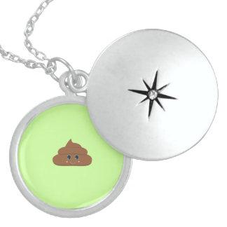 Happy poo round locket necklace