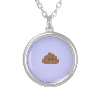 Happy poo round pendant necklace