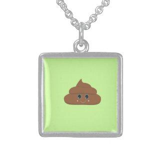 Happy poo square pendant necklace