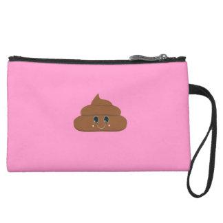 Happy poo suede wristlet wallet