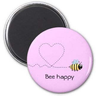 Happy positive bee cartoon funny pun pink magnet