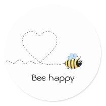 Happy positive bee in love cartoon classic round sticker