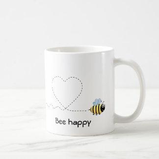 Happy positive bee in love cartoon mug