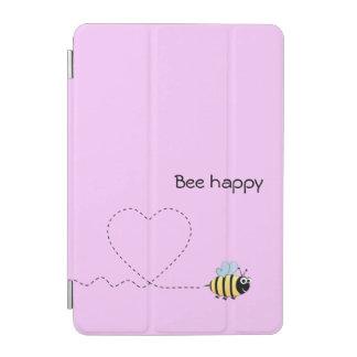 Happy positive bee in love cartoon pink iPad mini cover