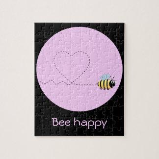 Happy positive bee in love cartoon pink puzzle