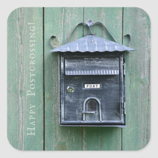 Happy Postcrossing! Mailbox. Square Sticker