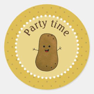 Happy Potato Party Time Classic Round Sticker
