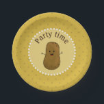 "Happy Potato Party Time Paper Plate<br><div class=""desc"">Cute brown cartoon happy potato with a big happy smile on his face. Change the background to any colour of choice by clicking customize.</div>"