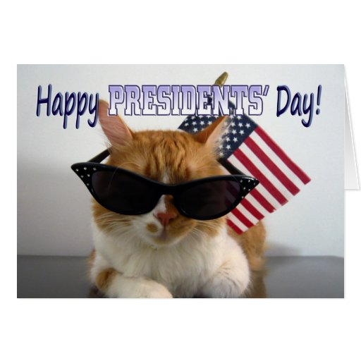 Happy Presidents' Day Cool Cat with American Flag Card