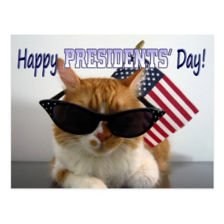 Happy Presidents' Day Cool Cat with Flag Postcard