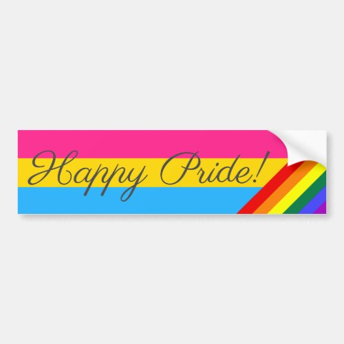 Happy Pride Pansexual Bumper Sticker