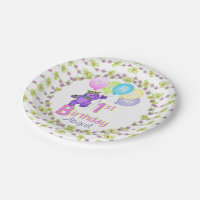 Happy Princess Bear 1st Birthday Party Paper Plate