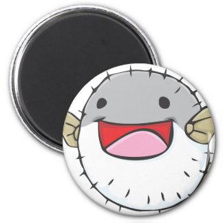 Happy Pufferfish Cartoon 2 Inch Round Magnet