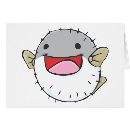 Happy Pufferfish Cartoon Greeting Card