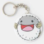 Happy Pufferfish Cartoon Basic Round Button Keychain