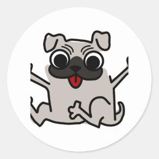Happy Pug Classic Round Sticker