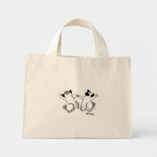 Happy Pug Dance Mini Tote Bag