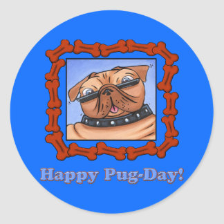 Happy Pug-Day! Round Stickers