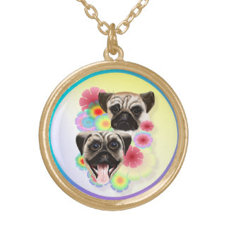 Happy Pug Grouchy Pug-Necklace Gold Plated Necklace