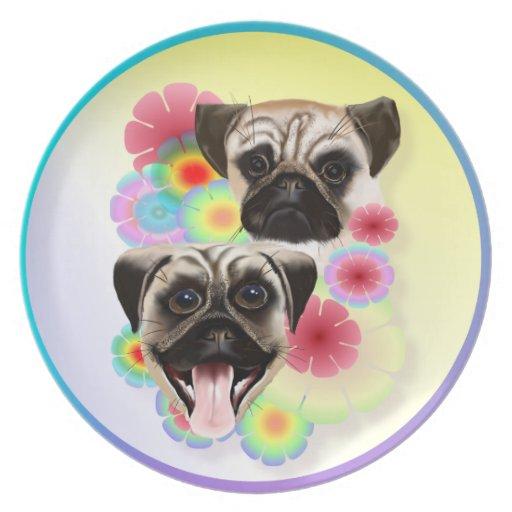 Happy Pug Grouchy Pug-Plate