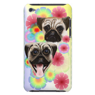 Happy Pug Grouchy Pug-Very bright flowers iphone iPod Touch Cover