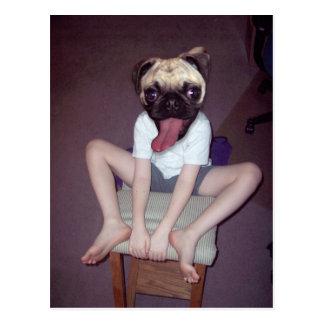 Happy pug-headed kid. postcard