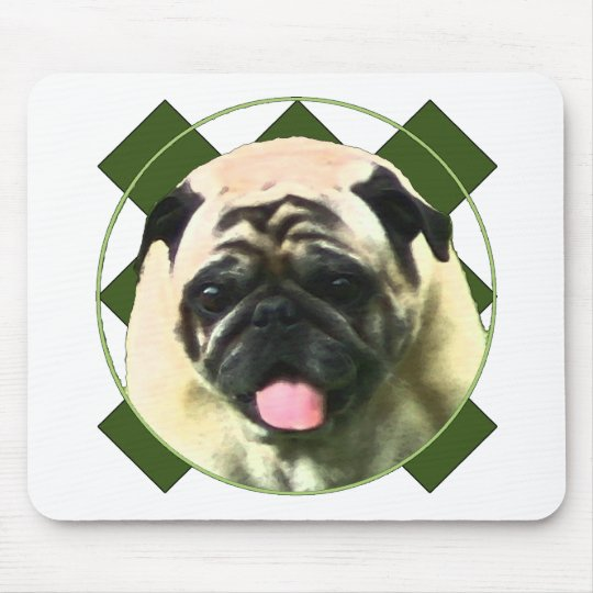 Happy pug mouse pad