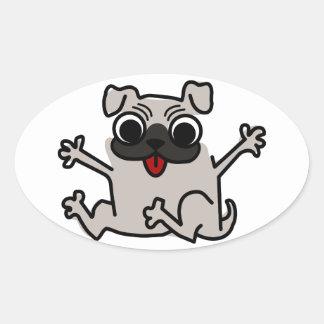 Happy Pug Oval Sticker
