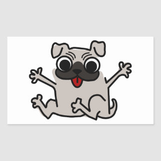 Happy Pug Rectangular Sticker