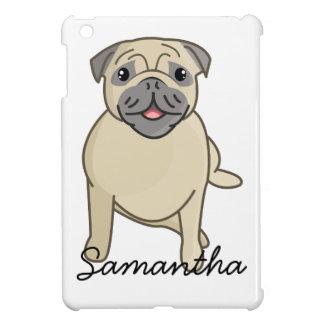 Happy Pug Sitting Down, Digital Illustration iPad Mini Cases