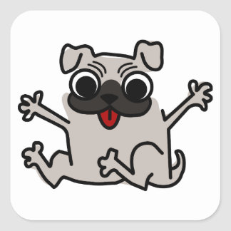 Happy Pug Square Sticker