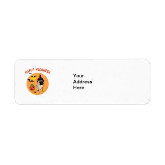 Happy Pugoween Halloween Pug Tees, Gifts Label