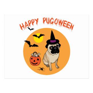 Happy Pugoween Halloween Pug Tees, Gifts Postcard