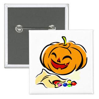 happy pumpkin bag of candy halloween button