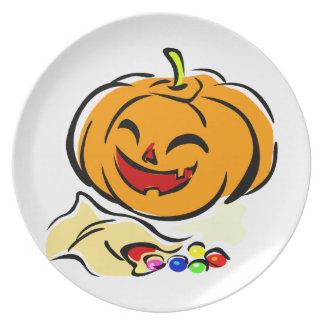 happy pumpkin bag of candy halloween dinner plates