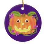 Happy Pumpkin Ceramic Ornament